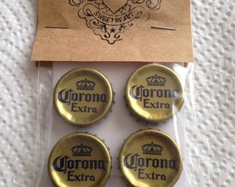 Beer Bottle Cap Magnets - Corona Extra Beer Bottle Caps // Upcycled Recycled Repurposed