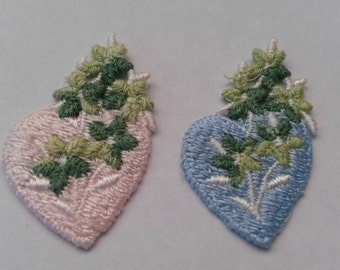 1 Pink or Blue Valentine Flower Heart Love Applique Sew On Patch