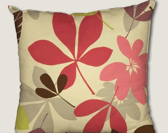 Pillow cover, decorative cushions in Feuillus Pink fabrics, several sizes