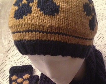 Knitted Brown and Navy Blue Flower design Girl's Hat, Women Beanie
