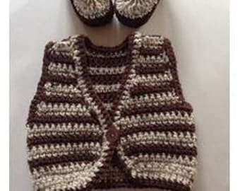 Set of Two Baby Brown Crochet Vest & Baby Booties, Handmade Vest and Baby Shoes