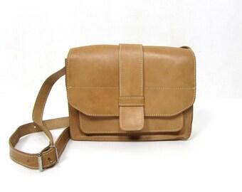 Vintage 90's Real Leather Camel Brown Bag Cross Body Messenger // Satchel Leather Bag