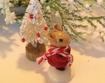 Miniature Mouse Christmas Winter Terrarium Sculpture with a Christmas Tree