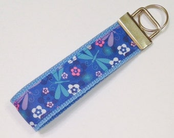 Blue Dragonfly Ribbon Wristlet Bracelet KeyFob/Lanyard/Dog Collar,Luggage/Backpack Tag,Teacher Badge/Whistle Holder,Souvenir,Science Lanyard
