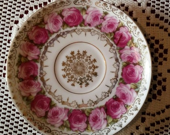 Vintage Shabby Chic Gold and Pink Roses Saucer Plate