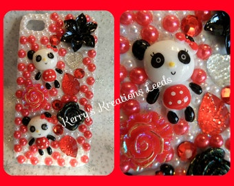 Panda iPhone 4 4s case bling customised sparkly decoden diamante red black white