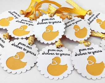 Baby Shower Tags - Favor Tags - 12 Thank You Tags - Baby Shower Thank You Tags - Yellow Duck Tags - Baby Shower