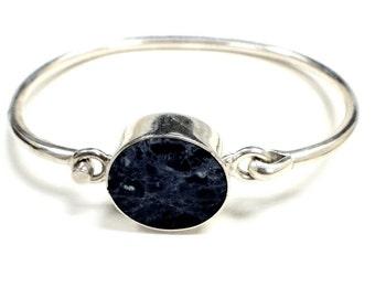 Sterling Silver 925 Blue Gemstone Women's Bangle Bracelet
