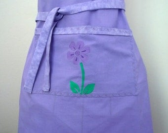 Purple Apron Painted Flower Center Pocket