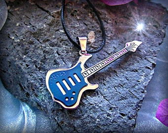 Blue Electric Guitar Pendant  Stainless Steel 2-Tone