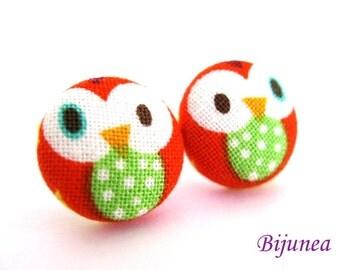 Owl earrings - Red owl earrings - Owl studs - Owl stud earrings - Owl posts - Owl post earrings sf554