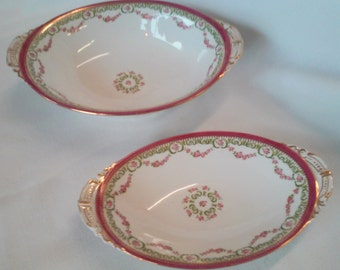 2 Antique L.S. & S Carlsbad Austria Rose Garland Oval Vegetable Serving Dishes