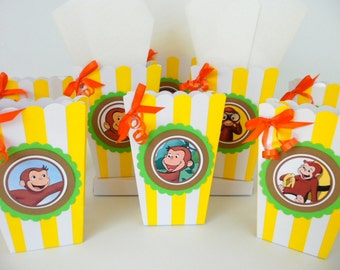 Curious George Inspired popcorn boxes...party favors... goodie bags.. SET OF 10