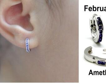 Baby Hoop Earrings (12 Birthstones)  .925 Sterling Silver