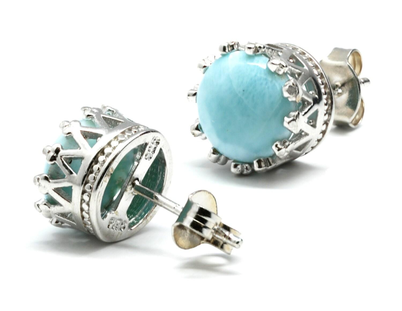 larimar 8mm crown stud earrings 925 sterling silver