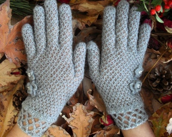 Gray / Fishnet Fingered Gloves / Women Accessories / Women Gloves / Gifts For Her /// FORMALHOUSE