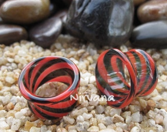 "1 Pair - Black & Red Tunnels Pyrex Glass Gauges 6g 4g 2g 0G 00g 7/16"" 1/2"" 9/16"" 5/8"" 4 mm 5 mm 6 mm 8 mm 9.5 mm 10 mm up to 1"" (25.4 mm)"
