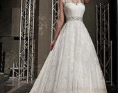Lace wedding dress.Sleeveless wedding dress.Full skirt wedding dress. Romantic wedding dress. Sweetheart wedding dress. Train wedding dress.