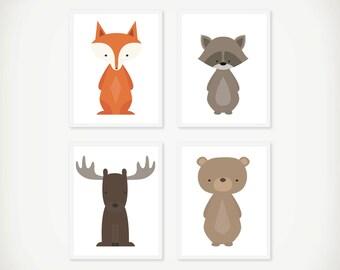 Woodland Art Print Set - Children's Wall Art - Nursery Art  - Woodland Decor - Set of 4