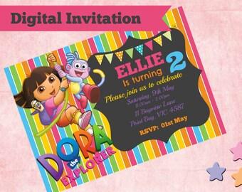 Dora The Explorer Birthday Party Invitation Digital 4x6 or 5x7