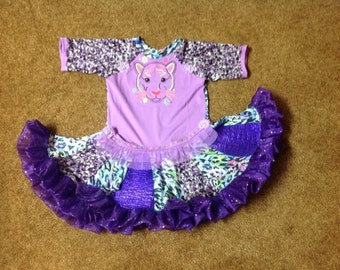 Purple Leopard Print Twirl Dress