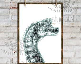 DINOSAUR PRINT #3# - Printable Instant Download, Dino Kids Room Decor, Dino Print, Boy room decor