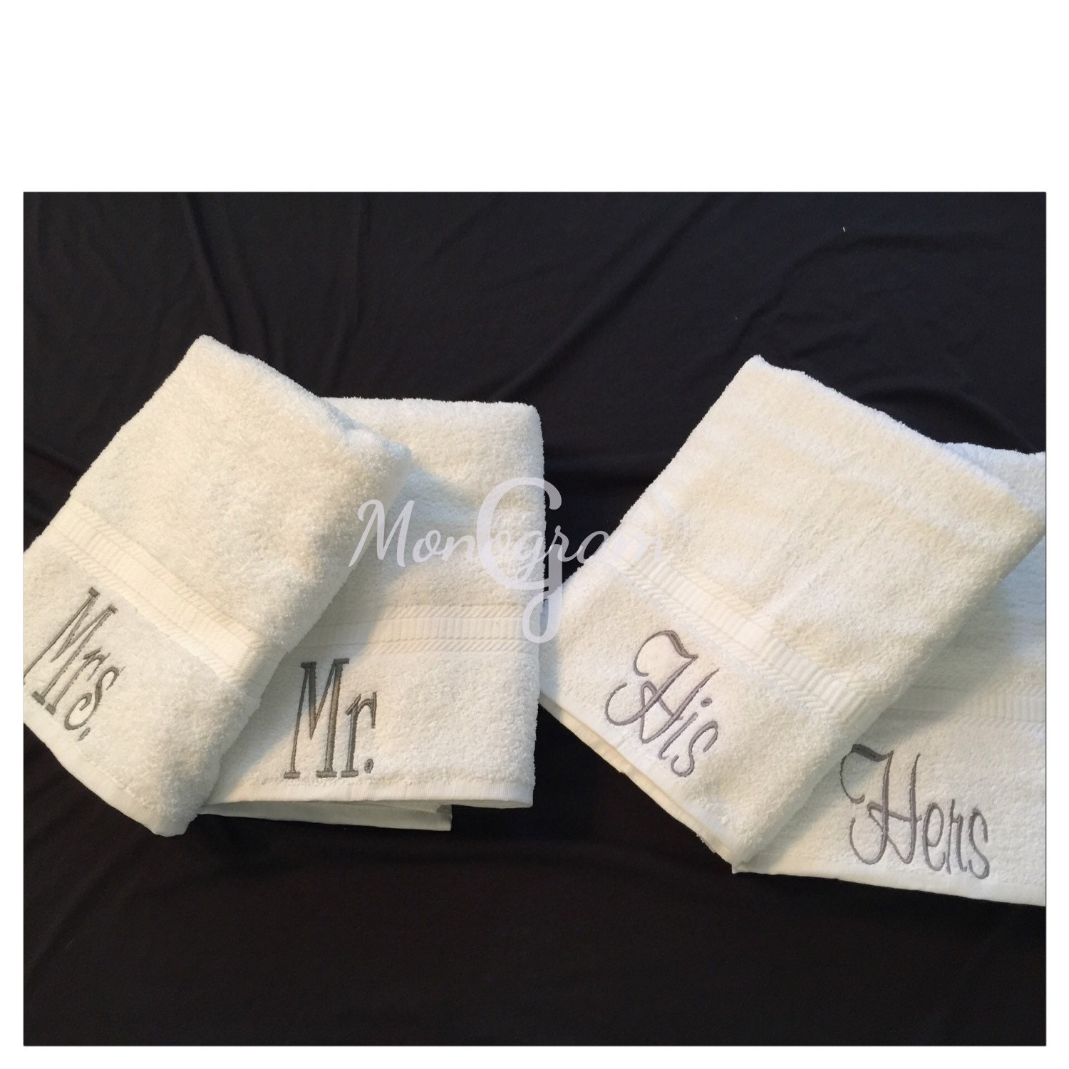 Monogram Towels For Bathroom: Monogram Towel Set/ Personalized Towels/ Bath Towels/