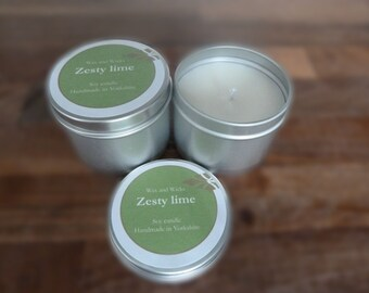 Lime soy wax candle tin