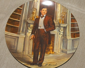 """NEW PRICE Vintage Limited Edition """"Rhett""""  Gone with the Wind Collectible Plate - Decorative Plate by Raymond Kursar 1981 Plate 11456 L"""