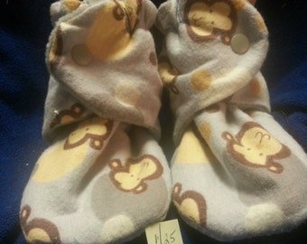 Toddler, Monkey Faces Fleece Baby Booties that Snap 5 inches ,need a different size contact littleMMIE
