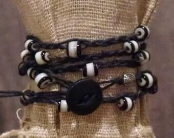 black and white glass bead wrap bracelet