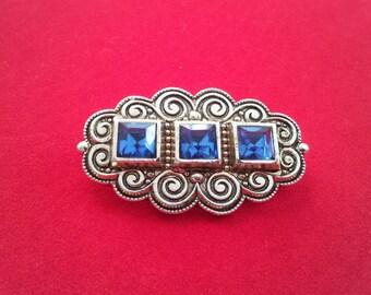 Art Deco Pot Metal Brooch, Blue  Stones, 1960s
