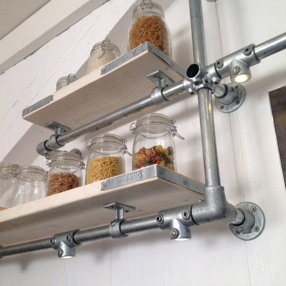 Kitchen Shelves Wall Mounted: Wall Mounted Modern Kitchen Shelves / Pan Rack By RatAndPallet