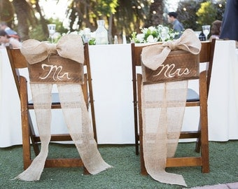 Sweetheart Table Rustic Mr. and Mrs. Signs for back of chair/ table/ Wedding gift table