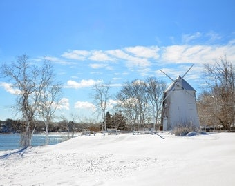 Jonathan Young Windmill Fine Art Photography Wall Photo Print, Winter Cape Cod Orleans MA Wind Mill White Snow Blue Sky Ice Nautical