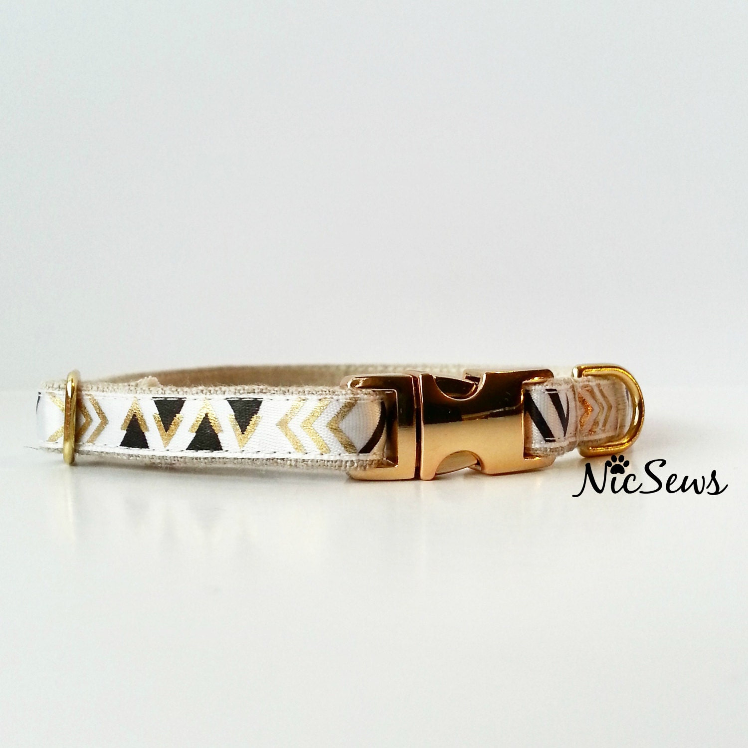 Dog Collar Modern Dog Collar Geometric Gold Dog Collar