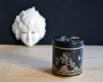 Enamelled brass box adorned with chineese flower paintings, black flower pattern tin box, chineese collectibles, black chineese tin box