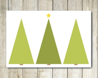 Printable Christmas Card - Christmas Trees