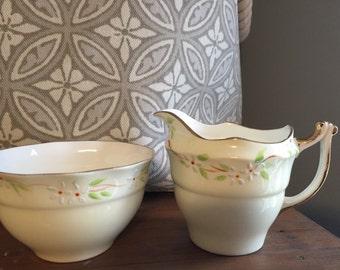 Vintage English Bone China Cream and sugar set, Gold Trim,  Old Royal, Hand painted flower pattern.