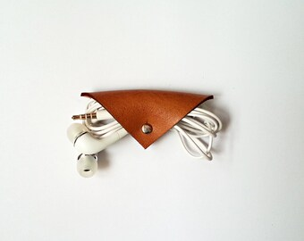 Triangle Leather Cord Organizer Cord holder Cable Organizer Cable Holder Wire Organizer Earbud Holder Travel Cord Organizers
