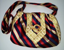 Two recycled men's ties small purse