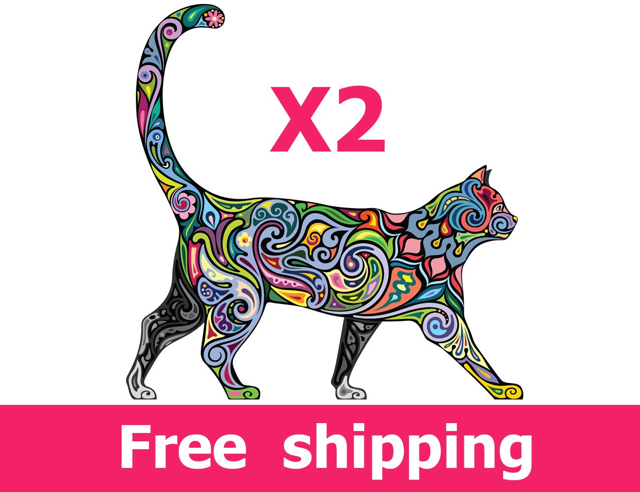 2 abstract cat wall decals elegance cat wall decal design