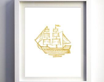 Gold foil nautical art sail boat ship Nautical Art Print, Nautical wall art decor, printable ship art DIY baby nursery art print, nursery