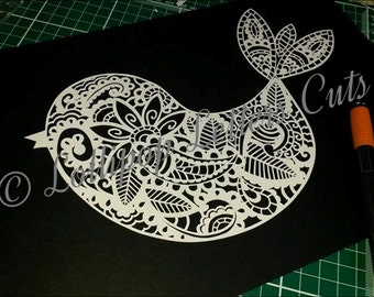 Paisley Bird, DIY, Paper Cutting Template, Commercial Use.