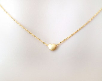 Mini, Heart, Gold, Silver, Necklace, Tiny, Heart, Necklace, Simple, Minimal, Cute, Lovers, Friends, Gift