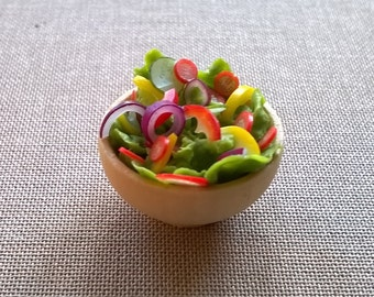 Dolls House Food: Miniature Food  -  A Turned Wooden Bowl of Salad / Side Salad - The Dolls House Magazine 5.16