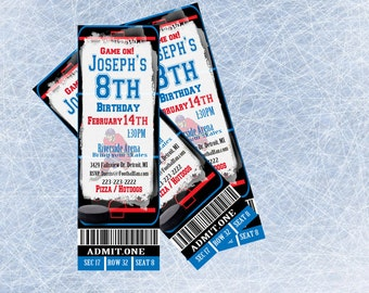 Hockey Invitation Hockey Birthday Ticket Personalized Invite Printable Hockey Party Ticket