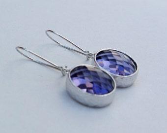 Tanzanite light purple glass dangles on rhodium plated kidney ear wires. Everyday earrings. Bridal. Bridesmaids earrings. Wedding jewelry