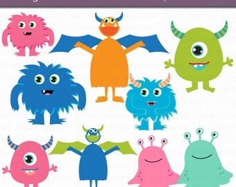 Cute Monsters Clipart Digital Art Set Commercial Use Clip Art INSTANT DOWNLOAD Monster Clipart