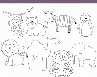 Zoo Animals OUTLINE Digital Art Set Clipart Commercial Use Clip Art Digital Stamps Black and White Clipart